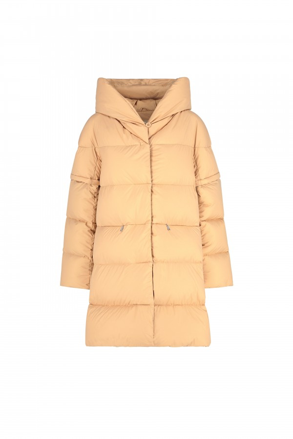 Hooded long down coat with...