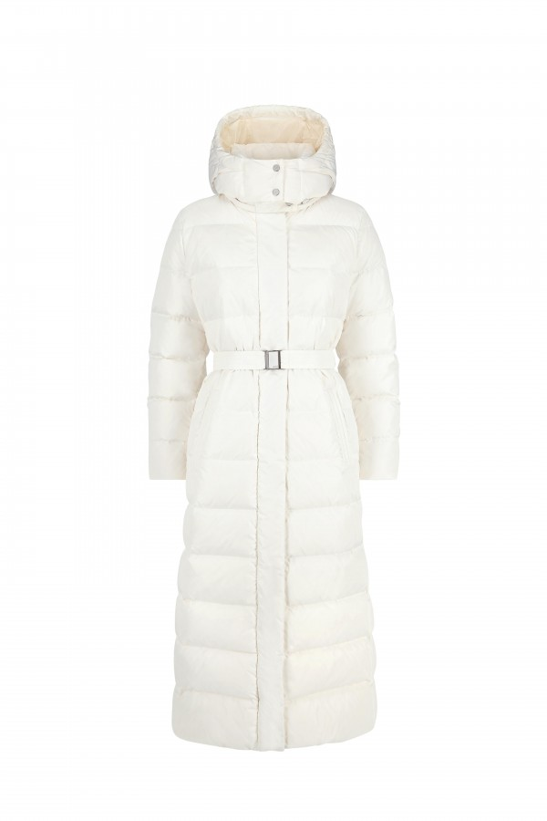 Down long coat with...