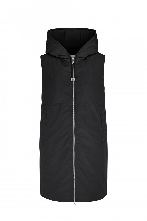 Hooded long vest with down...