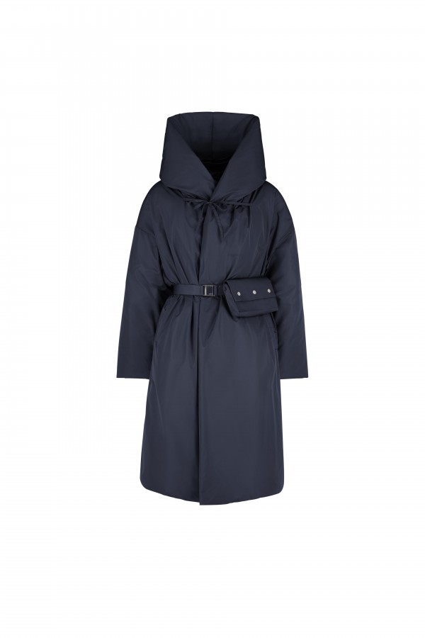 Hooded long jacket with...