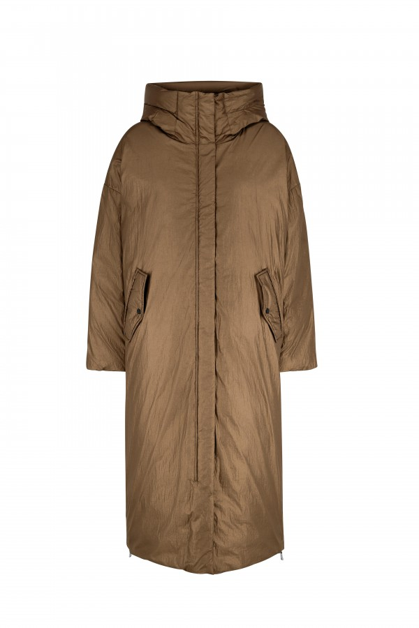 Hooded long coat with down...
