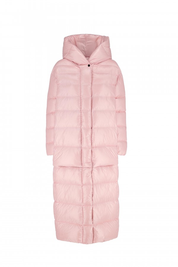 Down hooded long jacket...
