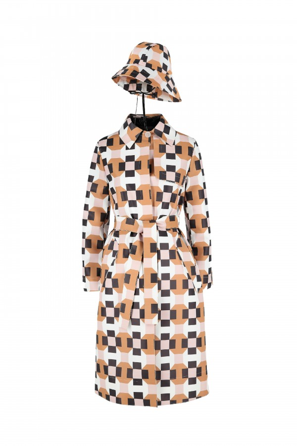 Printed trench coat with...