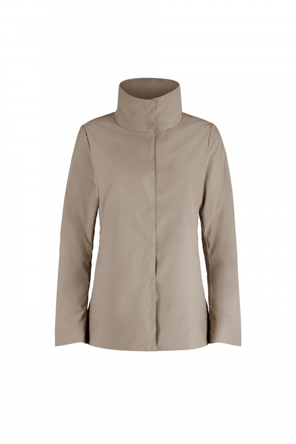 Woman jacket with high collar