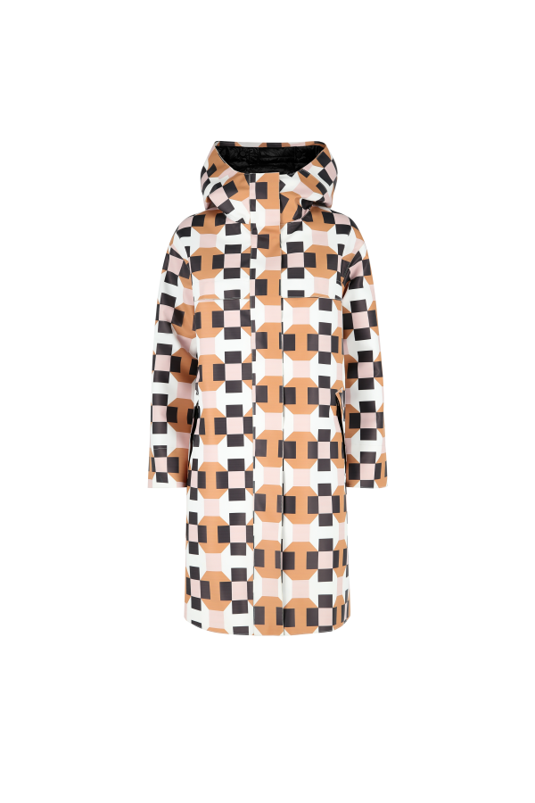 Printed hooded parka with...